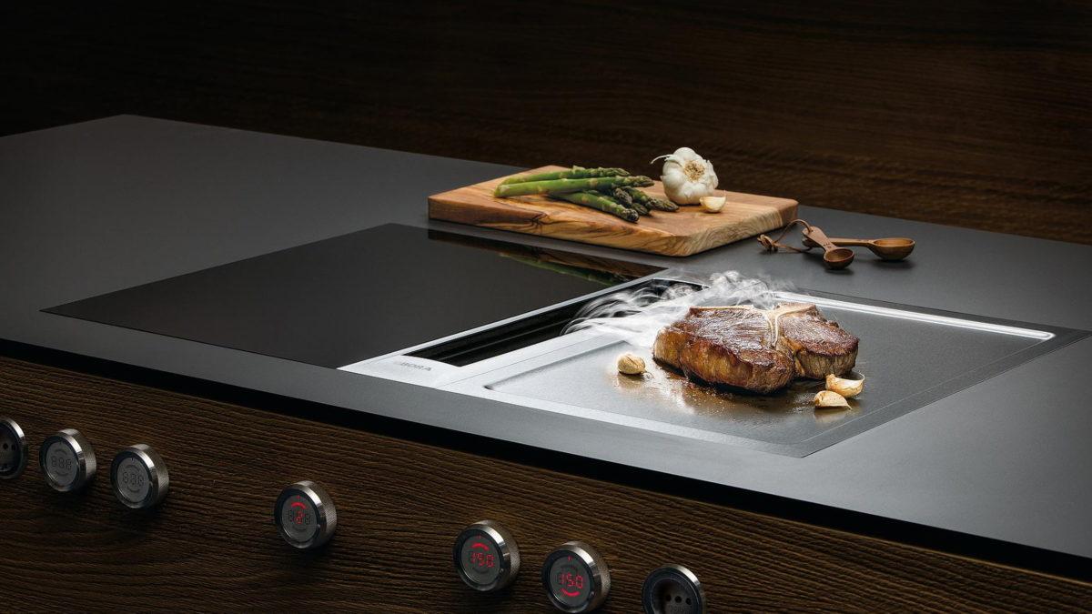 bora kochfeldabzug mit steak und tepan edelstahl grill platte