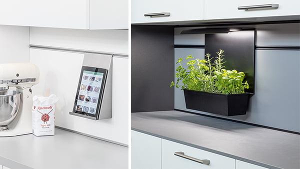 schüller paneel mit tablet halterung und kräutergarten topf inklusive led beleuchtung in schwarz