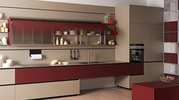 valcucine küche riciclantica 100 % recyclebare Eco Küche aus Glas in Rot
