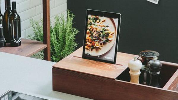walden industrial küche mit tablet halterung aus holz