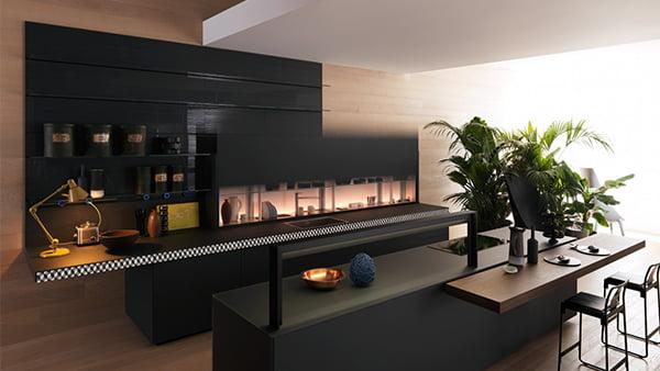 valcucine küche genius loci in schwarz mit holz elementen