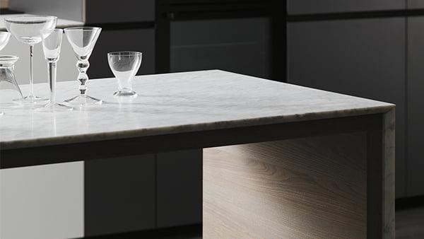 valcucine küche arbeitsplatte tresen aus natur materialien mit glas