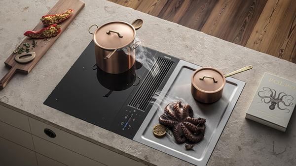 BORA Classic Kochfeld mit Dunstabzug und Tepan Edelstahl grill mit zwei kupertöpfen