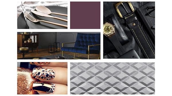 farbbeispiele der brigitte küchen stilwelt fascination mit sechs beispielbildern für trendfarben in dunkelblau und lila und silber gold
