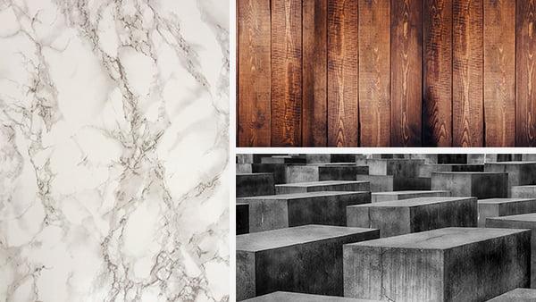 marmor holz und beton als materialbeispiel für grün in der küche