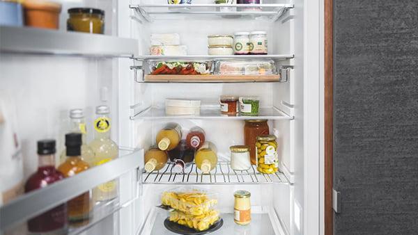 detail kühlschrank einräumen und fächer