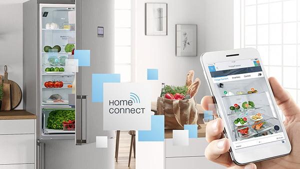 home connect beispiel mit smartphone und kühlschrank