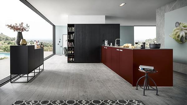 rote next125 küche mit schwarzem hochschrank und schwarzem sideboard