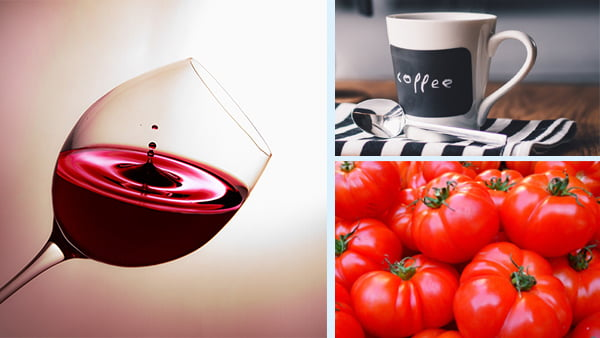 farbbeispiele für rot mit weinglas, tomaten und kaffeetasse in schwarz-weiß