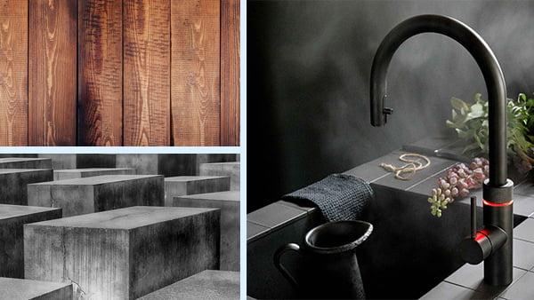 materialbeispiele für die kombination mit rot in der küche als holz beton und quooker wasserhahn in schwarz