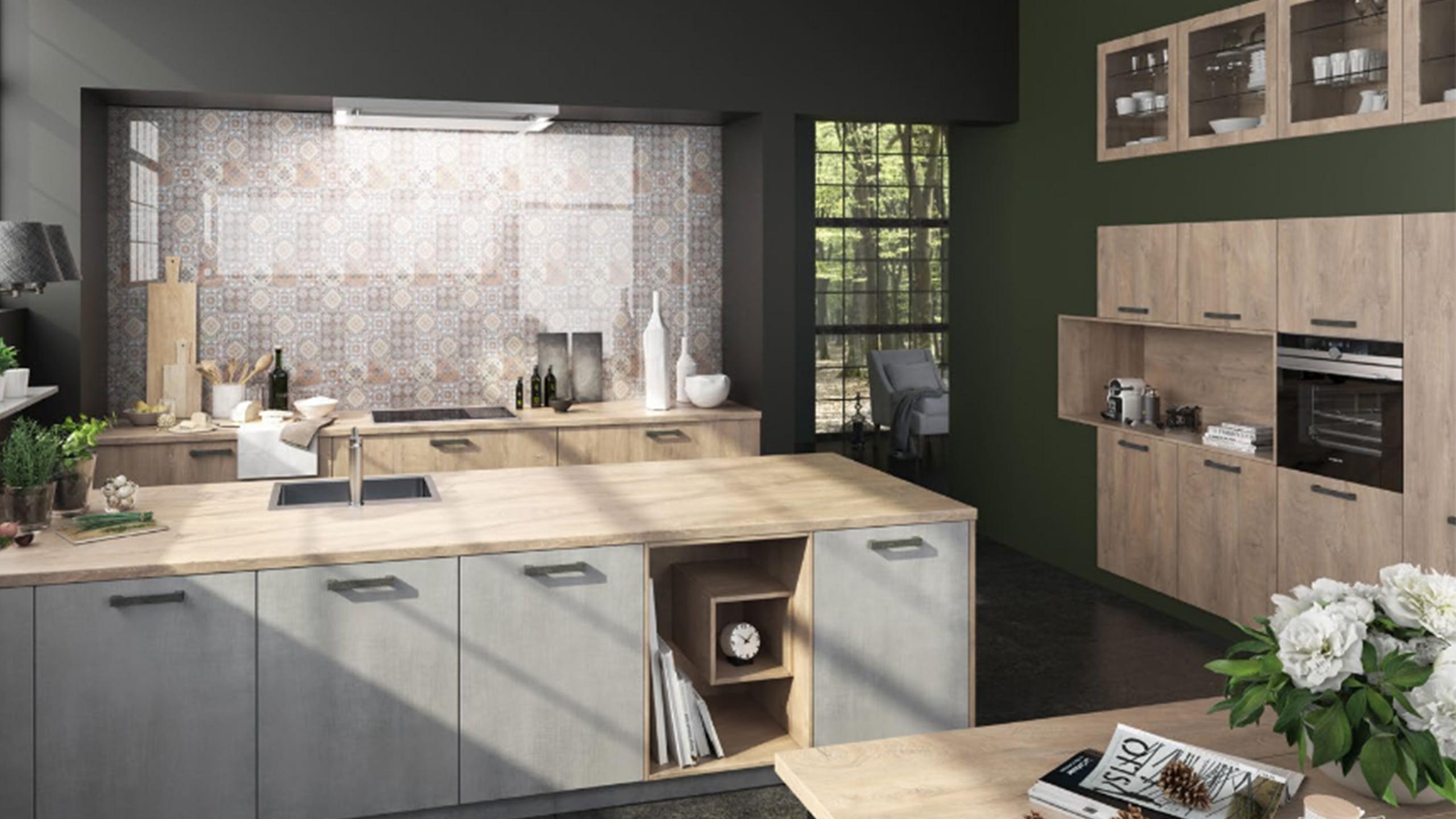 weiße brigitte küche mit holzarbeitsplatte und nischengestaltung