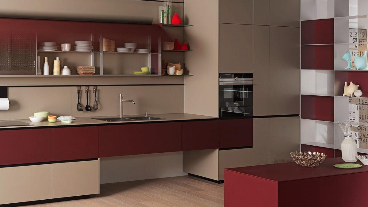 valcucine küche riciclantica in rot als beispiel für minimalismus in der küche