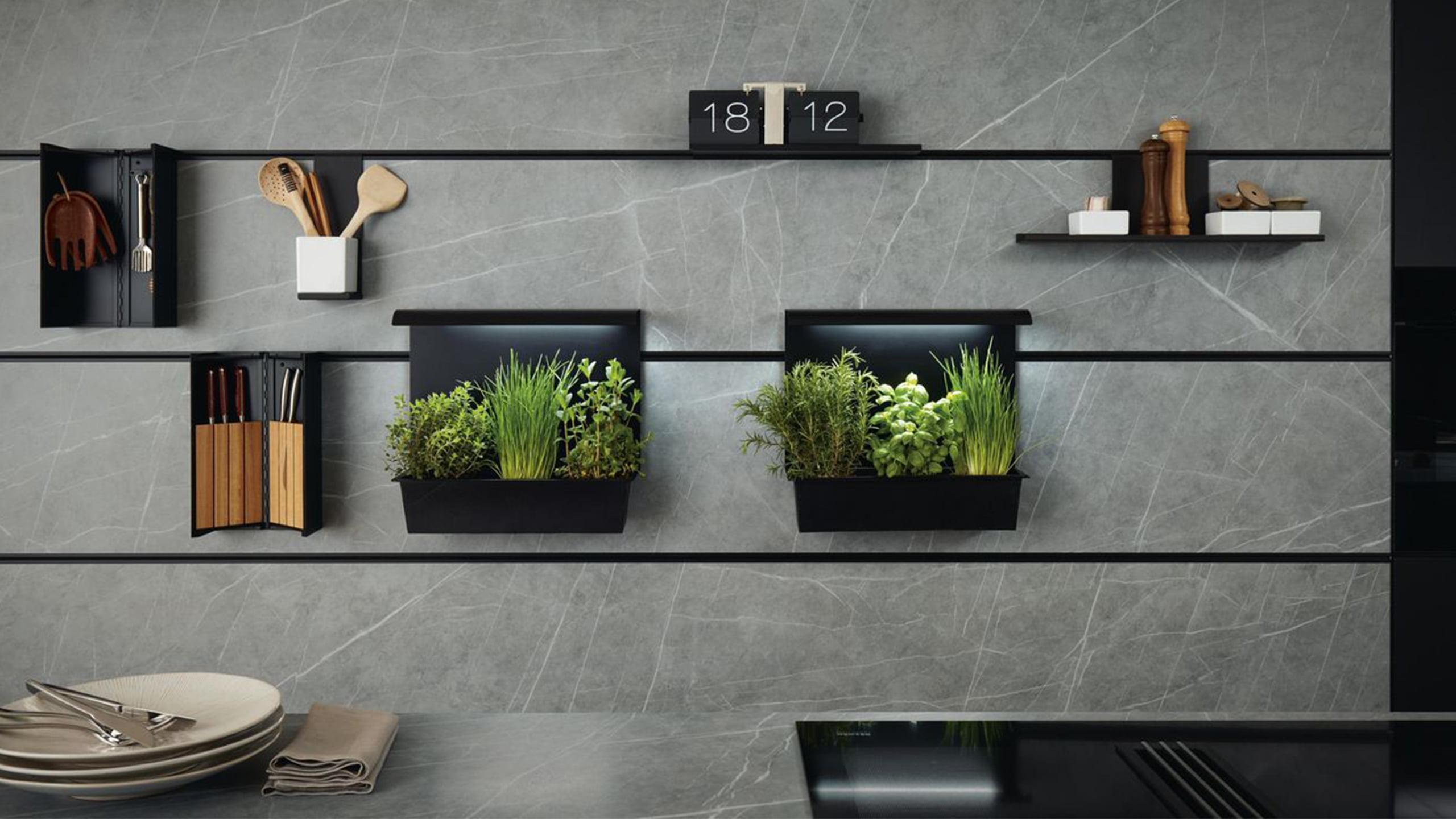 schwarzes next125 paneelsystem vor betonoptik rückwandpaneel mit kräutergarten messerblock und kochutensilienhalter