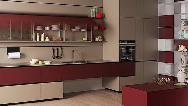 nachhaltige küche von valcucine in der farbe rot mit beige