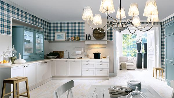 mediterrane landhausküche in weiß blau