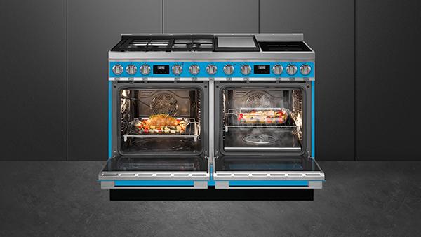 smeg gas range cooker in blau
