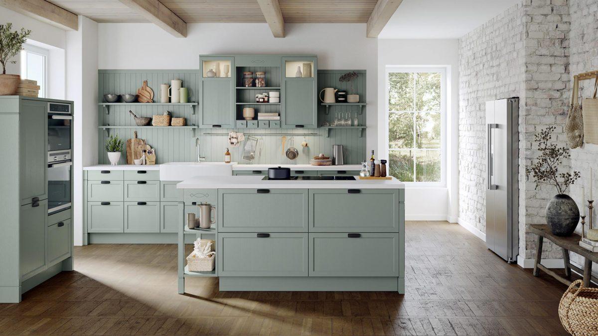 häcker pastellküche bristol im landhausstil in mint grün