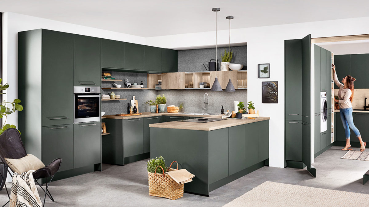 nobilia küche und hauswirtschaftsraum in matt grün